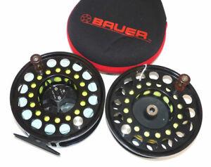 Bauer USA M7 black hi tech LHW salmon or salt water fly large arbour reel & s...