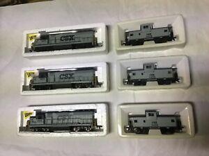 Vintage HO Scale-Bachmann-CSX Diesel 3456 Caboose-Lighted 6825 emd GP-40 train