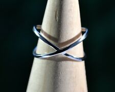 Sterling Silver 925 Plain Crossover Band Ring Size Q adjustable