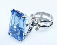 Blue Topaz Diamond Garnet Ring Custom Huge Center Size 5.5 WHOLESALE