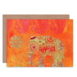 Indian Elephant Colourful Blank Greeting Card With Envelope