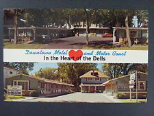 Wisconsin Dells WI Downtown Motel Motor Court Leinberger Postcard 1950s-60s Vtg
