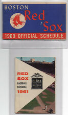1960 & 1961 Boston Red Sox Official Pocket Schedules Gillette, 1st National Bank