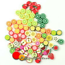 100 pcs Mixed Color Fimo Polymer Clay Charm Loose Fruits Spacer Beads ap7e