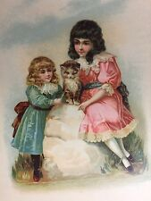 Vtg Litho Print to frame Victorian Edwardian Girls with their Kitten Cat