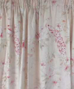 """Dorma Floral Curtains Light Pink Peacocks Peonies Lined W66"""" L90"""""""