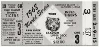 ~1968 World Series TICKET STUB GM 3 DETROIT TIGERS Washburn Cardinals win~