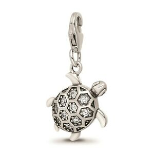 Reflection Beads Sterling Silver Rhodiumed White CZ Sea Turtle Click On Bead