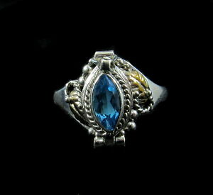 Handmade 925 Sterling Silver Blue Topaz Marquise Poison Pill Box 2 Tone Ring