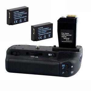 Pro Hand Battery Grip Pack + 2x LP-E17 Battery for Canon 750D 760D T6i as BG-E18