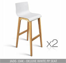 2 Kitchen Leather Chair Stool Dining Set Black White Timber Bar Oak Barstool