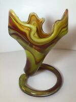 "Sooner Glass Tulip Trumpet Vase Swirl Coiled Base Hand Blown Art Glass 7.5""Green"