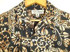 Tori Richard Shirt Sz M Black Cream Tan Hawaiian Camp Aloha Lawn USA Made