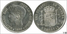 Spain 5 Pesetas 1897 (18 97) Sgv Ag/Beautiful S/C Alfonso XIII 00152