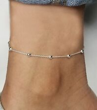 Silver Anklet Ankle Bracelet 9 inch Italian 925 Sterling Silver ball  rolo chain