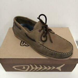 Weird Fish Leather Boat Shoes 'Chocolate' Brown - Brand New Boxed Various Sizes