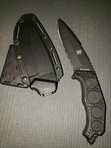 """KA-BAR FIN Fixed 4-7/8"""" D2 Steel Combo Edge Drop Point knife w/ Blade Tech mount"""