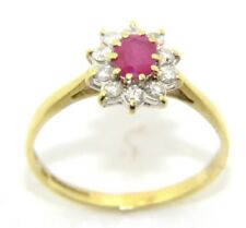 Ladies/women's 18ct/18Carat Yellow Gold Ruby and Diamond Ring UK Size P