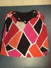 Worthington Woman's Plus Size 2X Multicolored Geometric Blouse NWT
