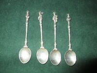 STERLING SILVER APOSTLE SPOONS ANTIQUE EUROPEAN, Set of 4 3/1/2in
