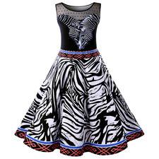 Retro Women Zebra Stripe Swing Evening Party Dress Ladies Rockabilly Swing Dress