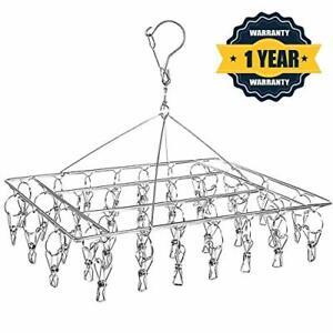 Stainless Steel Sock Drying Rack, Swivel Hook Wind-proof Clothes Hanger Rack for