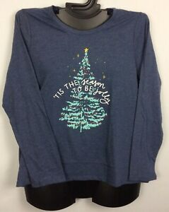Sonoma Plus Size Womans Shirt BLUE GRAY XMAS TREE Soft Comfy NWOT