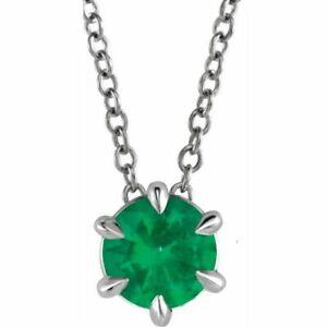 """Emerald Solitaire 16-18"""" Necklace In Platinum"""
