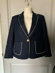 Ann Taylor Women's Navy Blue W/ White Trim Blazer Size 6P