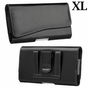 for XL LARGE Phones - Black Leather Pouch Holder Belt Clip Holster Carrying Case
