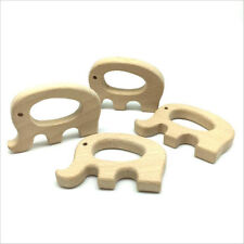 DIY 1pcs Natural Elephant shape Wood Safety Wooden Teether Baby Molar Stick Toy