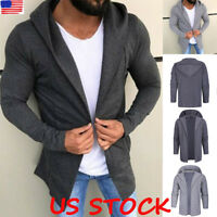 Men Hooded Cardigan Hoodie Jacket Long Sleeve Casual Slim Jumper Outwear Coat US