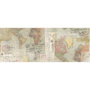 "Tim Holtz Idea-Oligy Collage Paper 6"" x 6 yards ""Travel"""