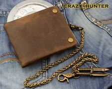 Popular Vintage Cowhide Genuine Leather Card Holder Wallet With chain