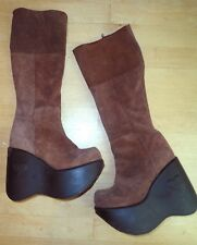 4558e5fe9ca LUICHINY Brown Suede Leather Boots Platform go-go Vintage 1990s 90s Dancer  36 6