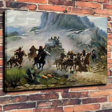 Art Quality Canvas Print,oil Painting a Western attack on a stagecoach 16x20