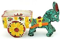 Vintage Italian Art Pottery Donkey Pulling Cart Planter Colorful Mid Century