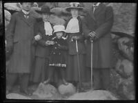 German Post WWI 3 1/2 x 4 1/2 Inch Glass Negative of a Young Child and Family V2