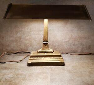 Vintage 1930's Art Deco Metal Bankers Desk Lamp