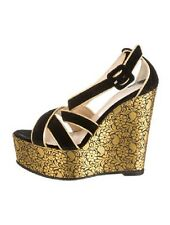 Auth Louboutin Brocade and Velvet  Gold and Black Wedge Ladies Size 36.5