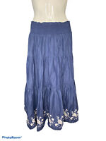 Old Navy Womens M Blue Maxi Skirt Pull-On Tiered Floral Lined Smocked Waist Long