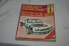 HAYNES Dodge Shadow Plymouth Sundance/Duster 12987-1993 Repair Manual Softcover