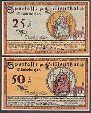 Lilienthal -Sparkasse- 25 Pf. u. 50 Pf., 2 Serienscheine v. 31.03.1921 (L 780 g)