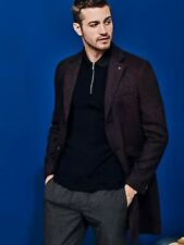 BURTON MENSWEAR LONDON Mens Red Herringbone Overcoats Jacket Coat Outwear Top