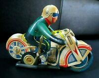 Vintage Tin Litho Wind-up Motorcycle With Rider, Made in China.