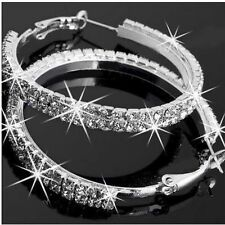 shiny 925 silver plated fashion earings womens crystal crystal hoop earrings