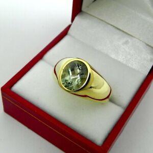 Oval Cut Green Amethyst Gemstone Gold Plated 925 Sterling Silver Men's Ring EG86