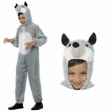 Childs Small Grey Wolf Costume Wild Animal Kids Fancy Dress Outfit Age 4-6