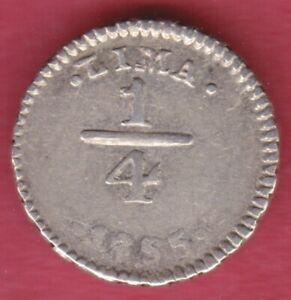 R* PERU 1/4 REAL SILVER 1855 LIMA XF+ DETAILS #M410