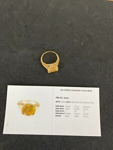 Citrine and Diamond Yellow Gold Ring Size 7